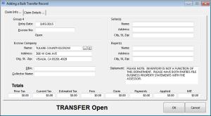 Bulk Transfer Entry Form